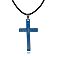 Titanium Stainless Steel Necklace Pendant Cross Black Wax Rope Chain Choker Fashion Jewelry For Men Women