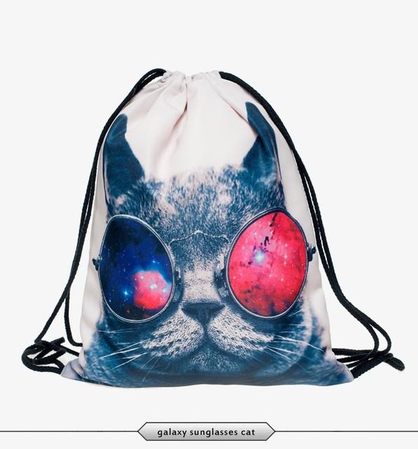 Новинка 3d печать животных кошка собака путешествия Softback человека женщин Mochila Feminina Harajuku шнурок сумка унисекс рюкзаки