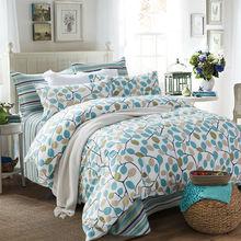 Queen size bedding set brief style tree flowers 100%cotton duvet cover set bedsheet quilt bedlinen bedclothes 4pcs comforter set(China (Mainland))