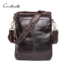 CONTACT'S HOT!! 2016 Genuine Leather Bags Men High Quality Messenger Bags Small Travel Dark Brown Crossbody Shoulder Bag For Men(China (Mainland))