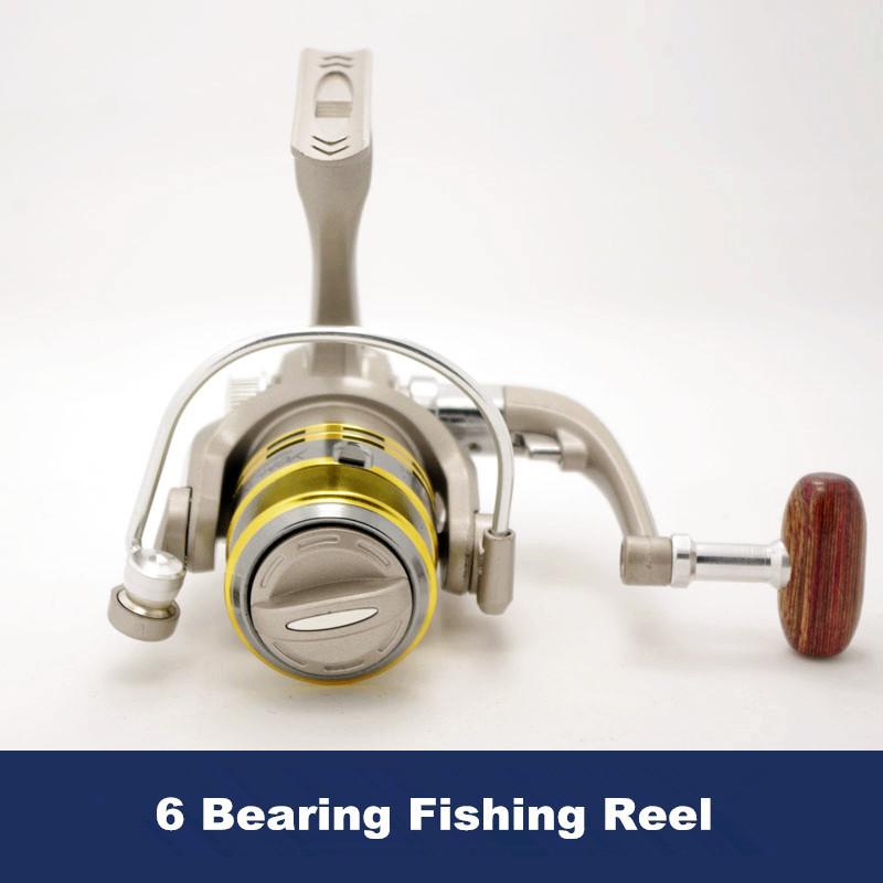 Free Shipping SK1000 500 Series Fishing Reel 6 Bearing Spinning Reels Front Drag Metal Head Lure Rafting Fishing Rod Tackle(China (Mainland))