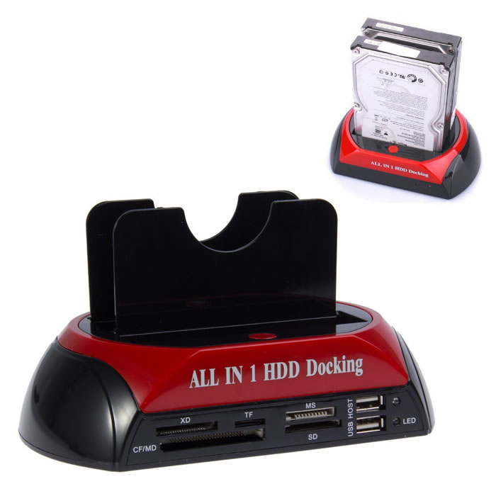 "2.5"" 3.5"" SATA IDE HDD Docking Station Dual Hard Disk Drive Dock e-SATA Hub(China (Mainland))"