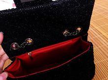 Black glitter lace buckle chain bag cute fashion fun mini shoulder bag high quality fabrics fashion