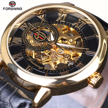 2016 FORSINING Fashion Design Black Gold Watch hand wind mechanical watch for men black leather band Relogio Male Free Shipping