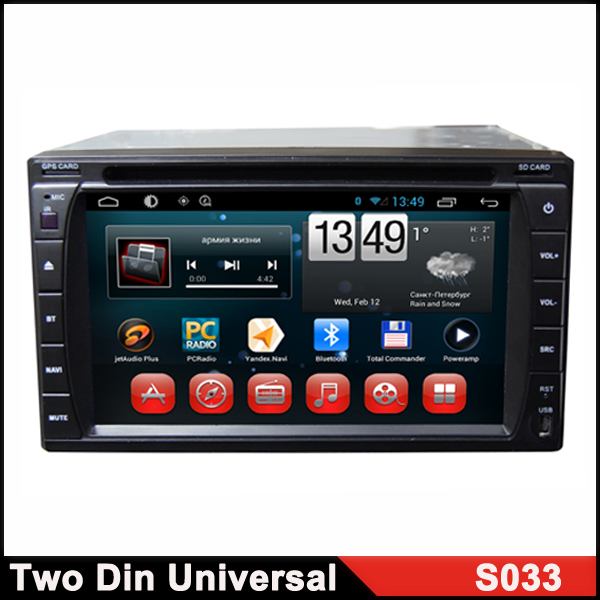 Double Din Universal In-Dash Android 4.4 Car Video Headunit Receiver Bluetooth Car DVD Player Touch Screen Double DIN PC Radio(China (Mainland))