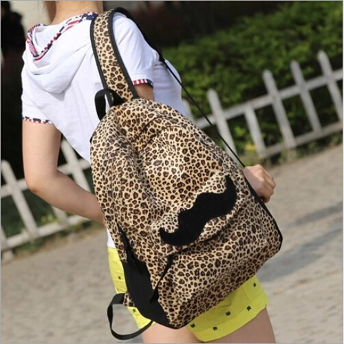 New 2015 Fashion European American Style Women Backpacks Lovely beard Vintage Leopard bag PU leather Backpack - Fortune international Buy directly from China store