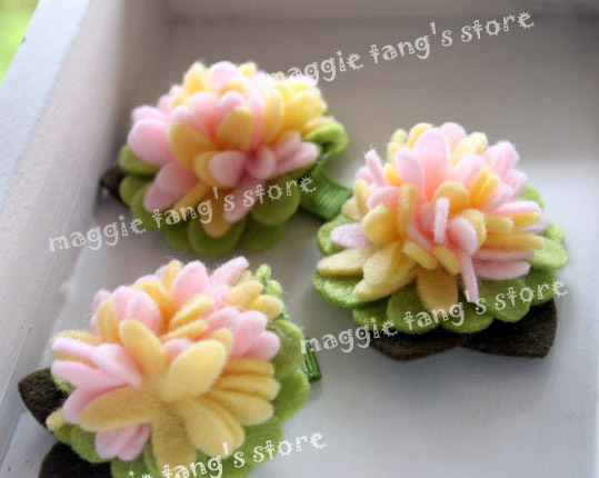 "3"" Girl's Felt flowers Baby wool felt hair clips hair bows handmade clip B019 Mixture colors 100pieces / lot"