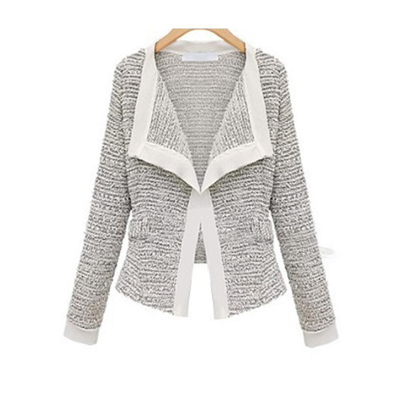 Мода 2014 новых осенью и зимой вязаные шерстяные с длинным рукавом кардиган пиджаки пальто короткое женщины большой размер xxl тонкий верхняя одежда