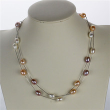 Buy SNH new 90cm 8mm AAA drop mixed color real natural pearl necklace genuine cultured pearl necklace 925 sterling silver chain for $21.00 in AliExpress store