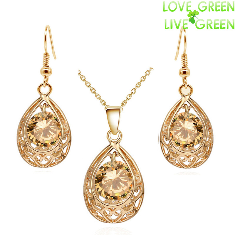 Vintage queen Bride 18K Gold Plated Zircon Rhinestones water drop Pendant Necklace Earrings indian jewelry sets for women 80025(China (Mainland))