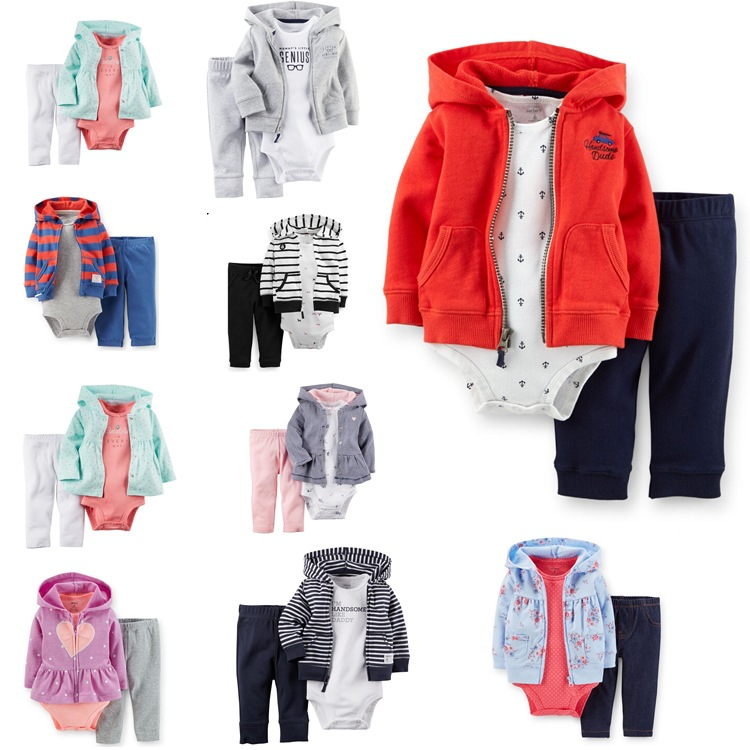 Carters Baby boy girls Clothing Sets bebe Long Hooded + short sleeve Rompers+Pants 3pcs/set Autumn Suits Infant Clothes 304<br><br>Aliexpress