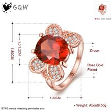 Simulation Diamond Ruby Ring Wholesale High Quality Nickle Free Antiallergic New Fashion Jewelry 18K Gold PlatedRing