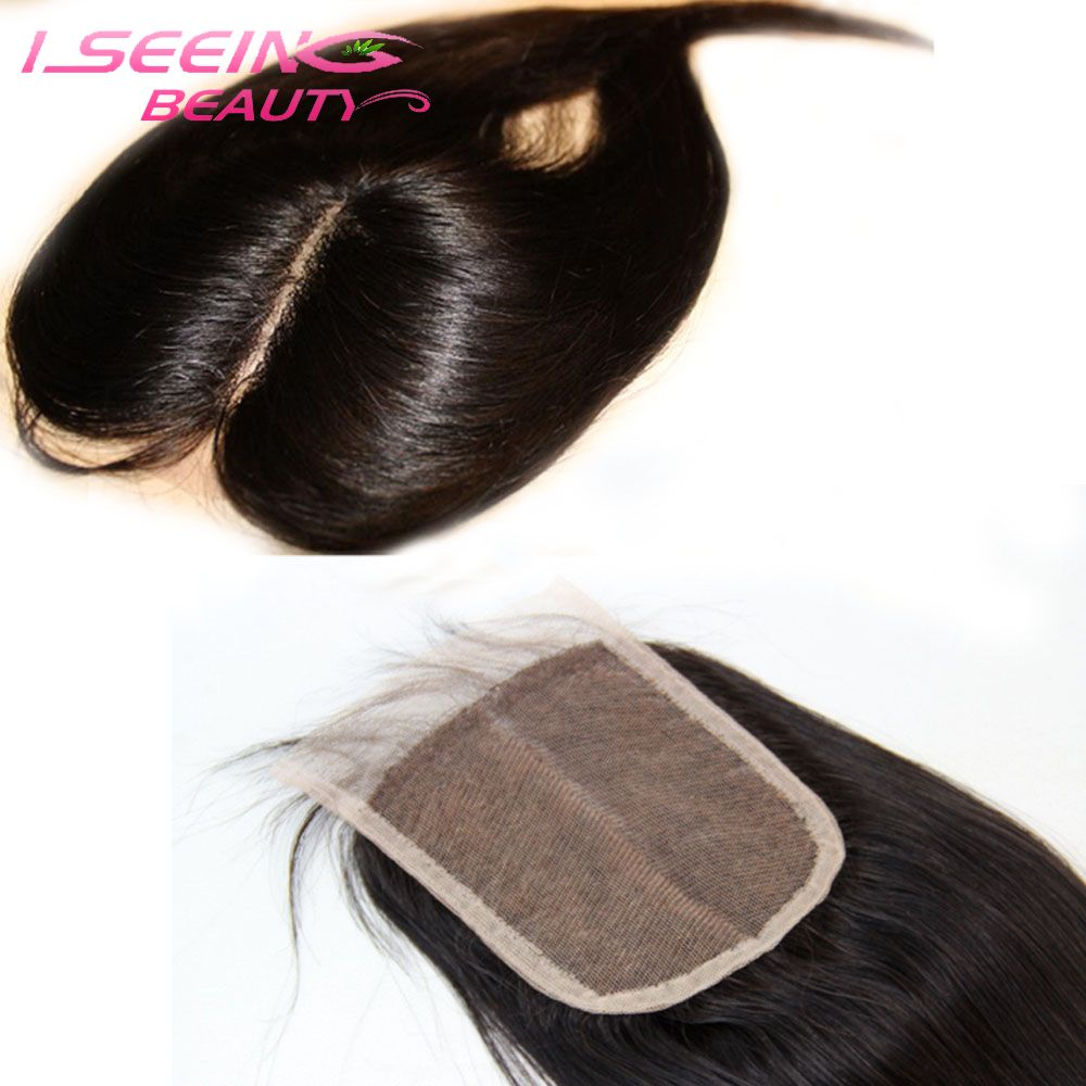 Free shipping 8A virgin brazilian straight human hair middle part lace closures 4x4 swiss lace top closures bleached knots1b(China (Mainland))