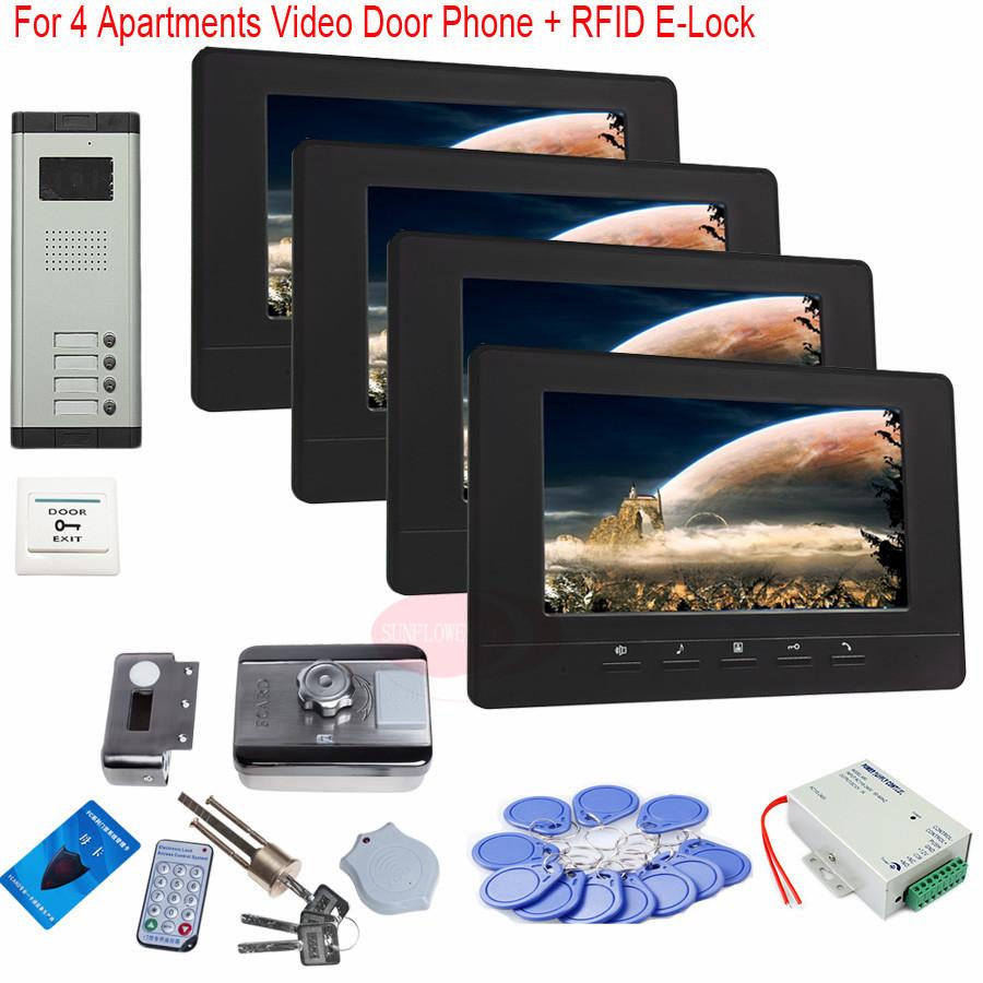 For 4 Apartments 7 Inch TFT Door Phone Video Doorbell Intercom Security IR Camera +RFID Electronic lock In Stock!(China (Mainland))