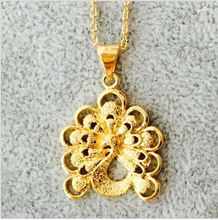 wholesale lot New luxury Jewelry 24K Gold Filled Letter Peacock pendant necklace for women(China (Mainland))