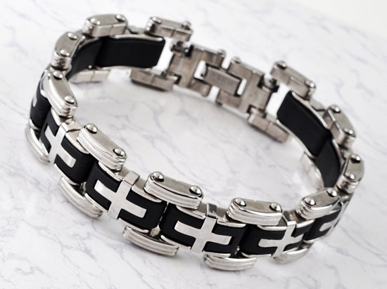 New-Men-s-High-Quality-Stainless-Steel-Bracelet-Silver-Link-Black-Rubber-Bangle (9)