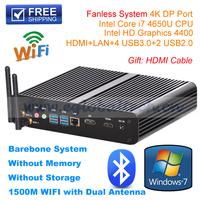 Barebone Fanless Mini PC 4K DP Port WiFi IR XBMC OPENELEC with Intel Processador i7 4550U Mini PC Home Computer Thin Client HTPC