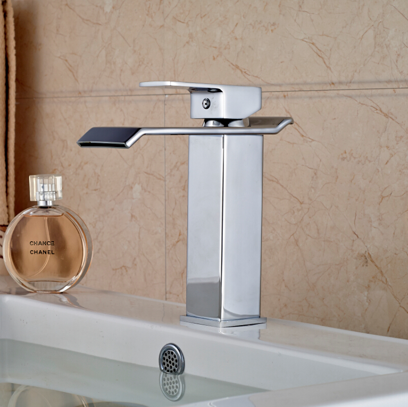 Promotion Waterfall  Brass Basin Vessel Sink Mixer Taps Single Lever Bathroom Faucet One Hole Chrome Finish