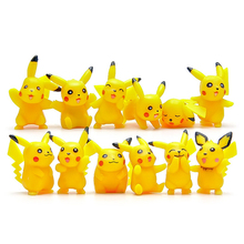 Hot Sale 12Pcs/Lot Anime Cartoon Movie PVC Doll Pikachu Figure Toys Collective Figures Toy 3-5CM Great Gift For Children