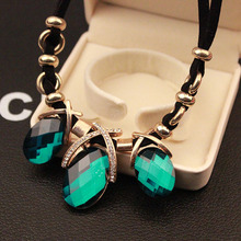Summer style Fashion fine jewelry Oval Green Crystal Black Pendants colar accessories Necklaces Pendants women collier