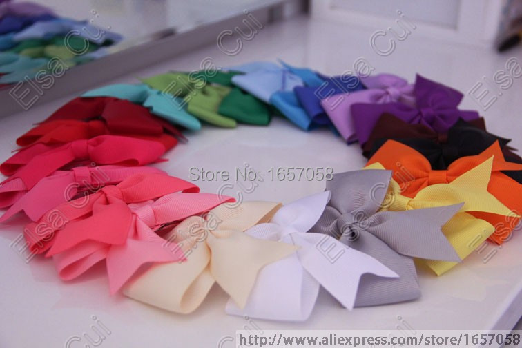 """21 Solid Color girls simple hair clips 20pcspcs/lot 4.5"""" Girls Boutique Hair Bow,Hair Accessories 2008(China (Mainland))"""