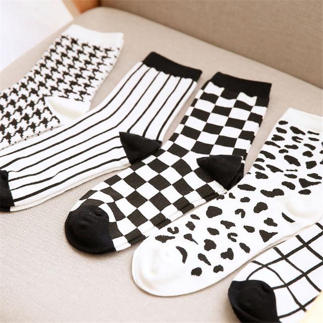 10 пара японский Harajuku мужская белый и черный клетчатые носки новинка мужчины полосы сетки трубки носок мужчины 100 хлопок носки оптовая продажа