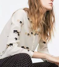 2016 new za women elegant vintage animal elephant print blouses shirts retro vestidos long sleeve casual shirts blusas(China (Mainland))