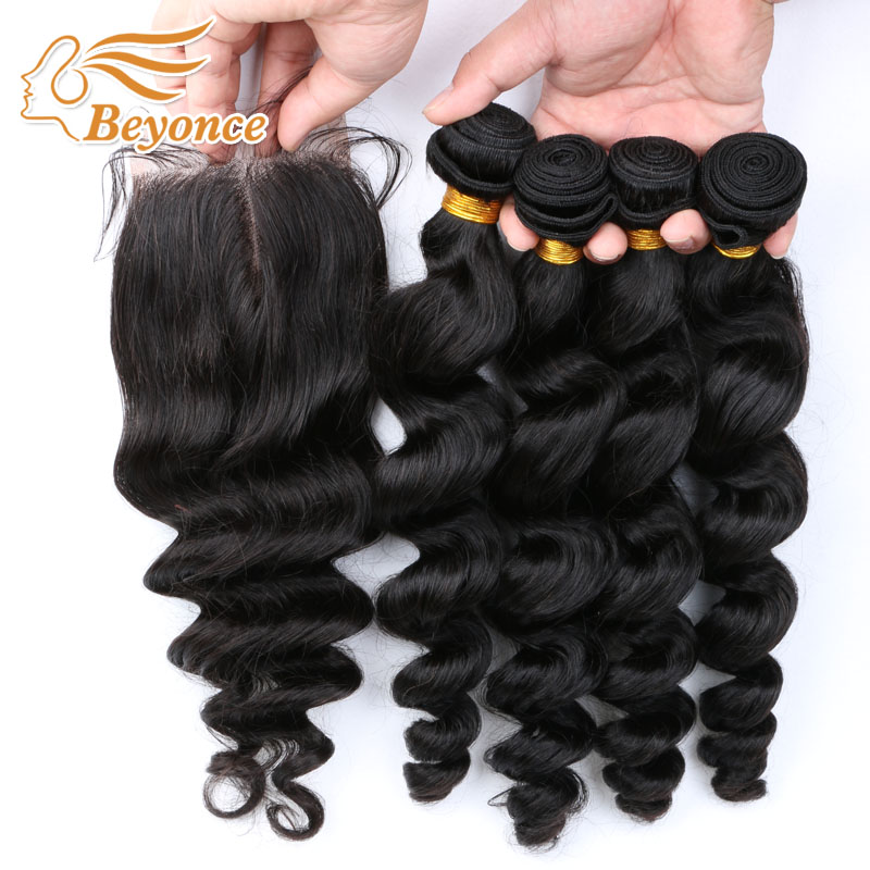 Peruvian Virgin Hair with Closure 4 Bundles with Closure Human Hair Virgin Hair loose wave with Closure Dhl free shipping<br><br>Aliexpress