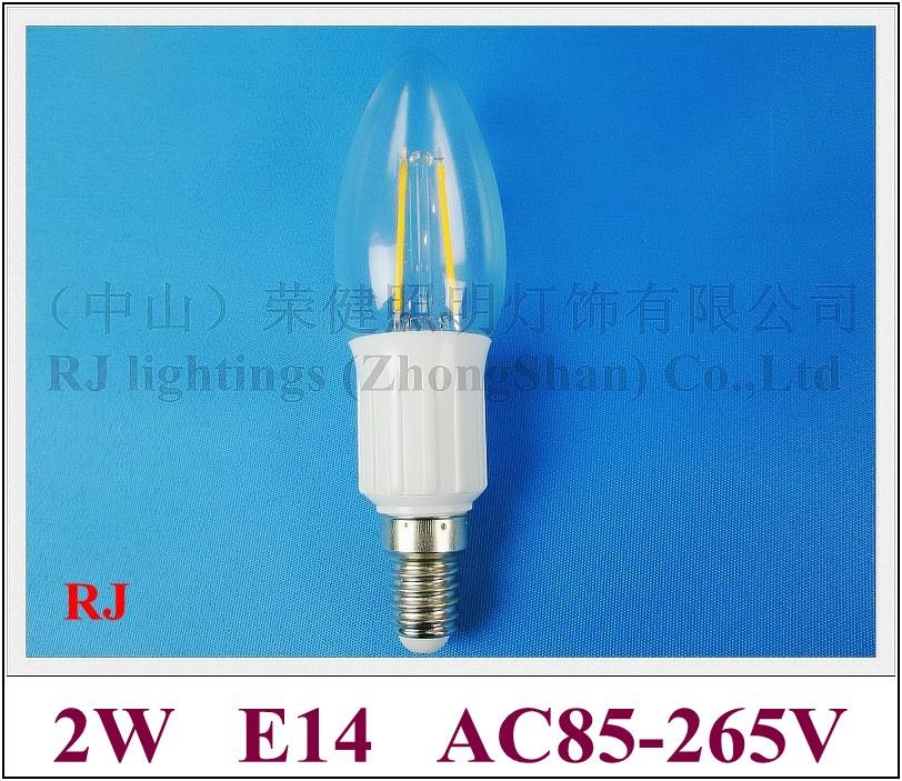 rocket style energy saving 360 degree lighting angle filament LED candle bulb lamp light E14 2W 220lm AC85-265V New product(China (Mainland))