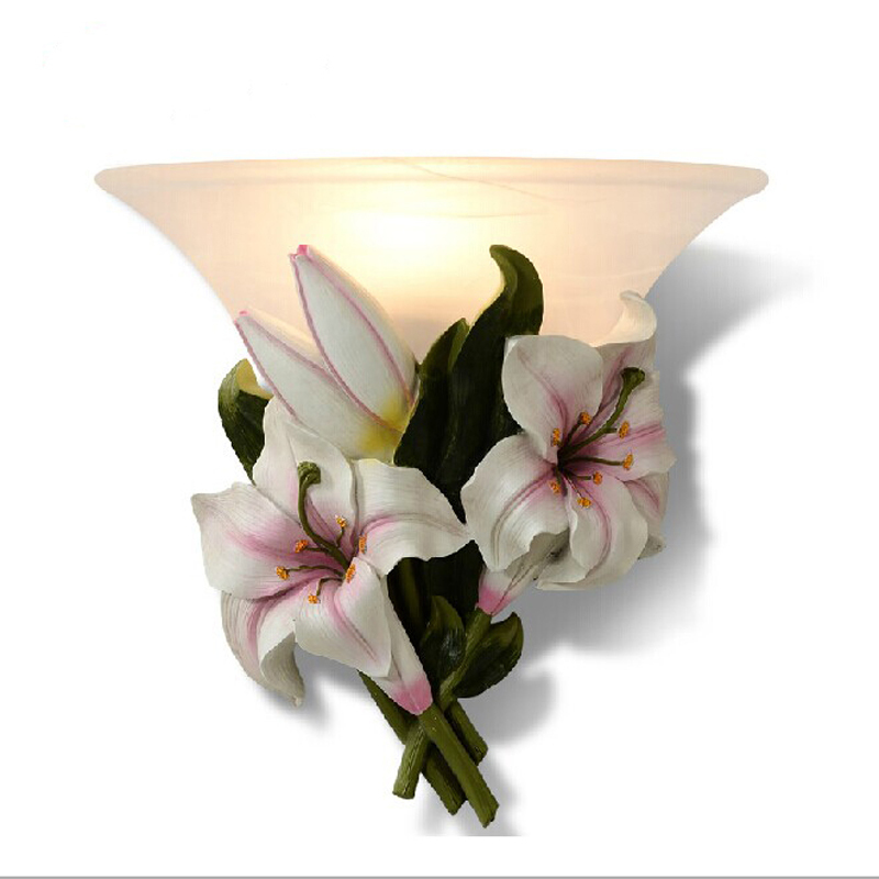 European-style garden wall lamp flower sconce bedroom lights frosted glass interior lamps kid's room