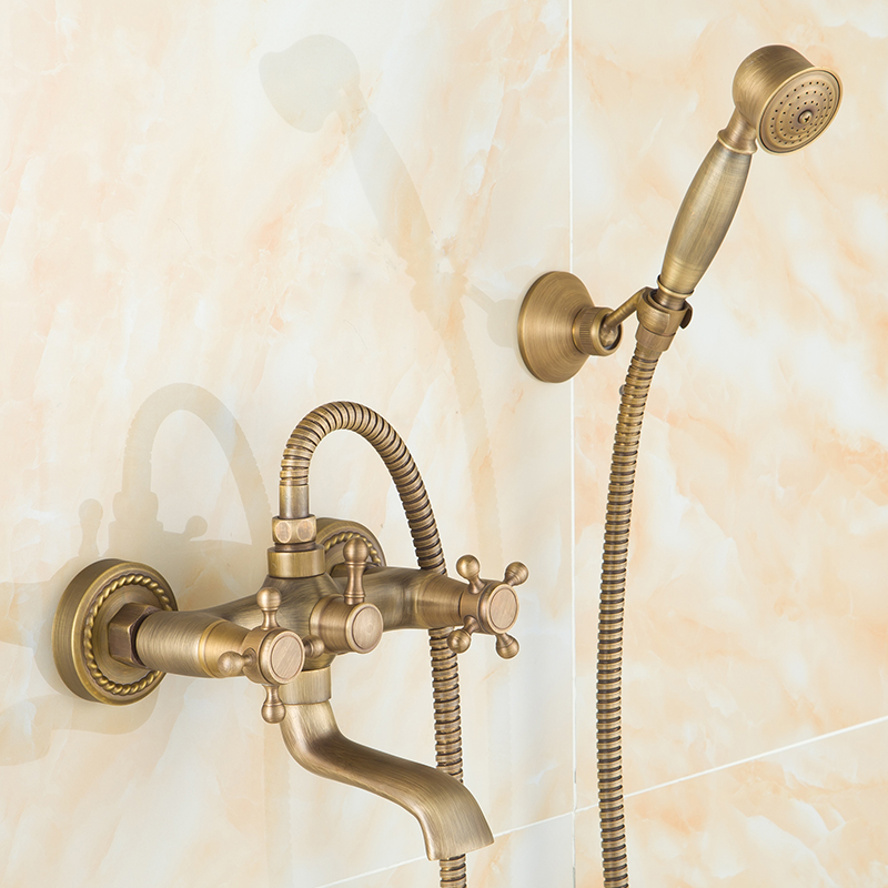 Фотография Wall Mounted Antique Brass Bath Faucets 360 Swivel Faucets Bathroom basin Mixer Tap crane With Hand Shower Head Shower Faucet