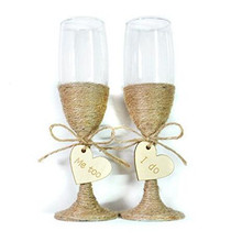 "Rustic Wedding Toasting Glasses Twine ,Engraved ""I DO, ME TOO"" , Champagne Flutes ,Bride Groom ,wedding - Romeda Decoration company store"