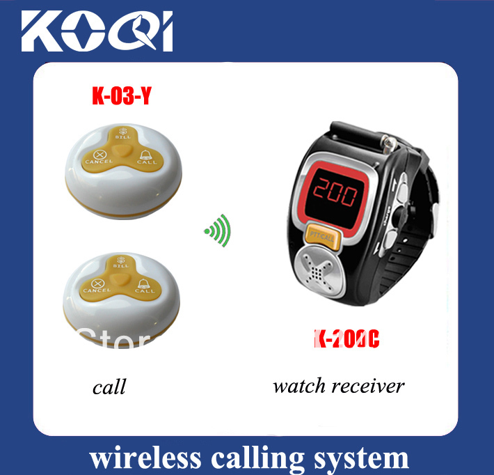 wireless paging system a system consist of 10pcs table bell O3-WY and 2 watch receiver K-200C(China (Mainland))