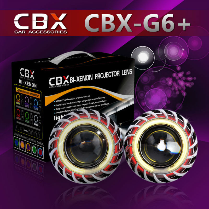 Free Shipping CBX-G6+ Double Angel Eyes HID Bixenon Projector Lens Kit with 35W HID Ballast Xenon Lamp 4300K-8000K Car Light<br><br>Aliexpress