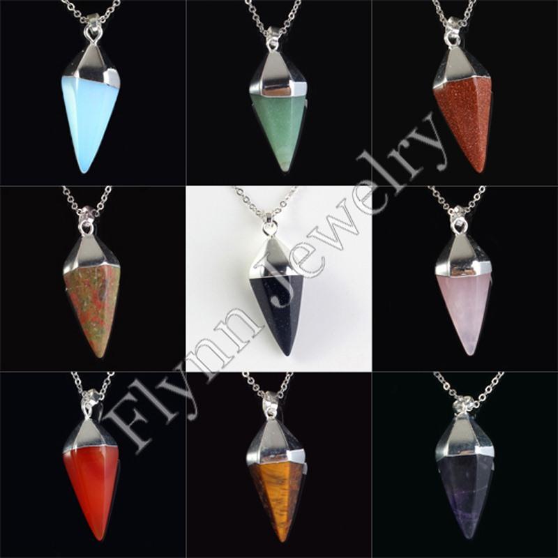 10X Charm Rose Quartz Natural Stone Hexagon Pyramid Healing Chakra Pendulum Pendant Accessories European Fashion Jewelry