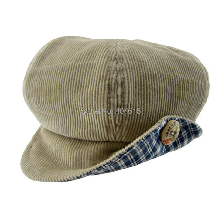 Retail children boy and girl winter top quality corduroy newsboy caps 50cm(China (Mainland))