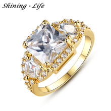 2015 Fashion Women Jewelry Ring 18K Gold/ Platinum Plated Micro Pave Big Clear AAA Cubic Zirconia Anillos Wedding Rings CRI0005