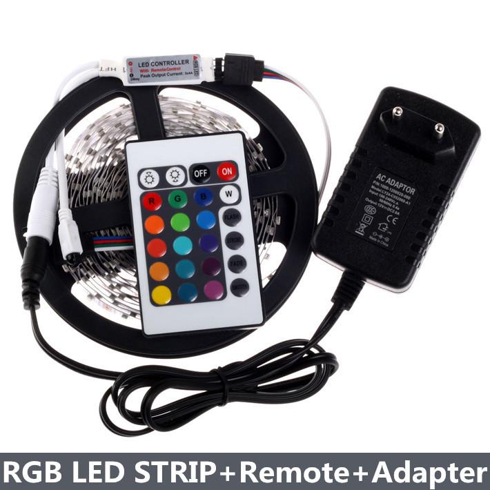 RGB LED Strip 300Leds/5M 3528 SMD + 24Key Mini Remote Controller + 12V 2A Power Supply Flexible LED Light Free Shipping<br><br>Aliexpress