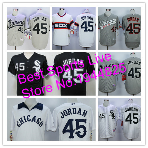 Michael Jordan jersey Chicago WhiteSox #45 Michael Jordan Men's New Stitched white gray Baseball jersey cheap Authentic shirt(China (Mainland))