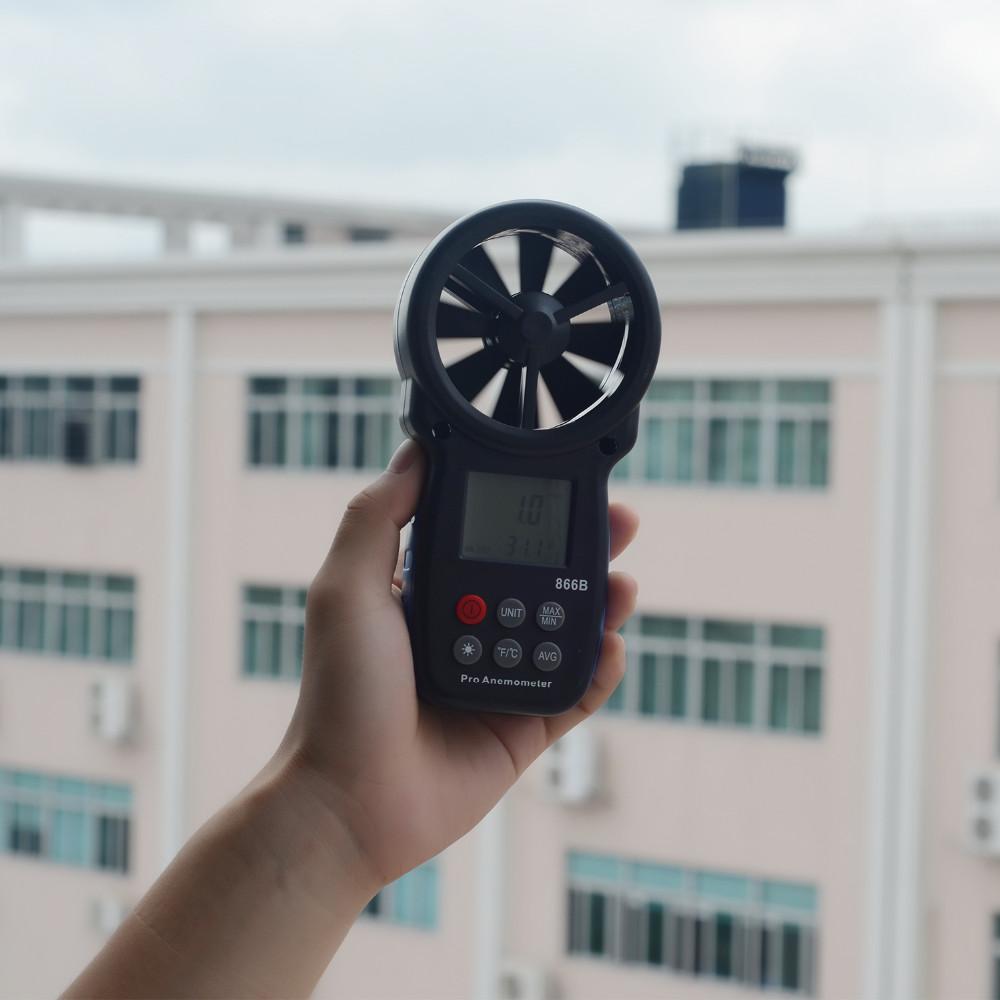 Купить HOLDPEAK 866B-APP Цифровой Анемометр С Мобильных ПРИЛОЖЕНИЙ-ЛУЧШИЙ Скорость Ветра Метр Измеряет Температуру Ветра с Подсветкой