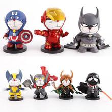 Anime Cartoon Doraemon Cosplay Thor Captain America Iron Man PVC Batman Action Figures Collectible Model Toy 10cm