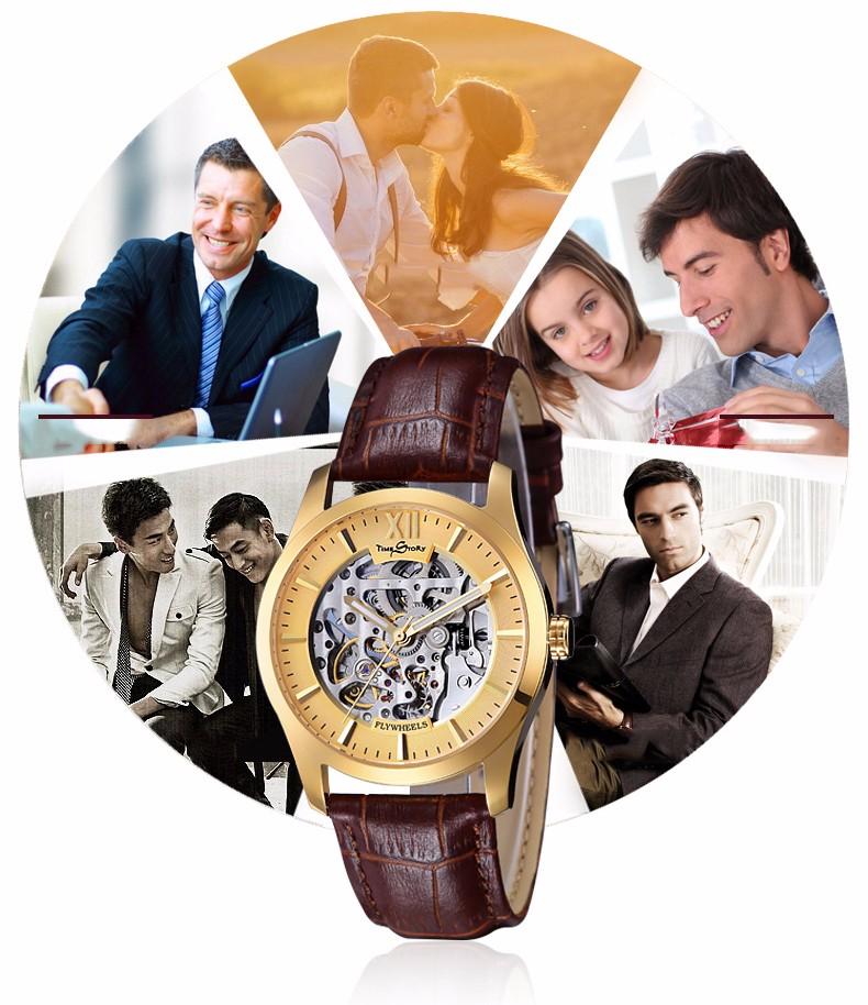 Марка Классический Моды Случайные Бизнес Часы мужские Автоматическая Self-Wind Skeleton Наручные часы Маховик Световой Водонепроницаемый 50 М