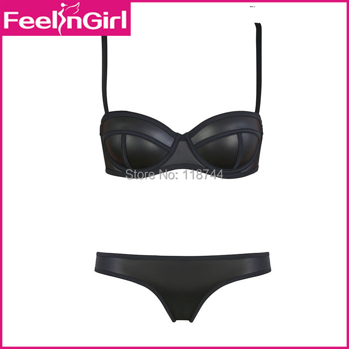 Women Bikini 2015 Sexy Brazilian Swimsuit Padded Top Black Swimsuit Sets Fashion Swimwear Women Biquini Push Up Bikini Set 2(China (Mainland))