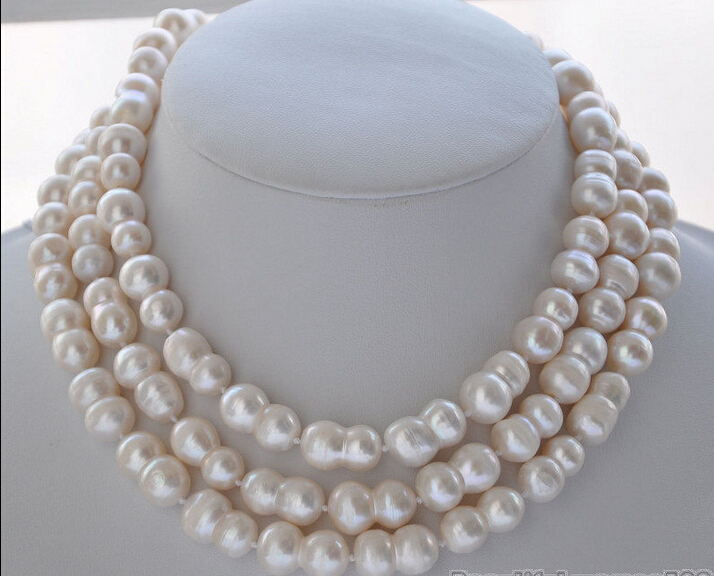 FREE shippingNATURAL 50 20mm WHITE peanut DOUBLE BAROQUE FRESHWATER PEARL NECKLACE Z5838<br><br>Aliexpress