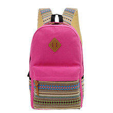 2016 Brand Women Canvas Shoulder School Bag Leather Backpack Girl Travel Satchel Rucksack High Quality Free Shipping N596(China (Mainland))