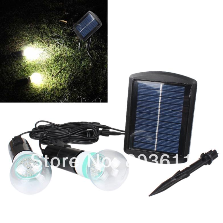 Good Outdoor/indoor Solar Powered Led Lighting Bulb System 1 x solar panel +2 x Bulb(China (Mainland))