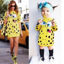 Baby Costume SpongeBob Dresses For Girls Mother Daughter Sweater Family Matching Dress Coat Crochet Spring Autumn Kids Clothes