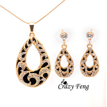 Women's 2 Colors 18k Yellow/White Gold Filled Austrian Crystal Chain Pendant Necklace + Earrings Jewelry Sets Free shipping(China (Mainland))