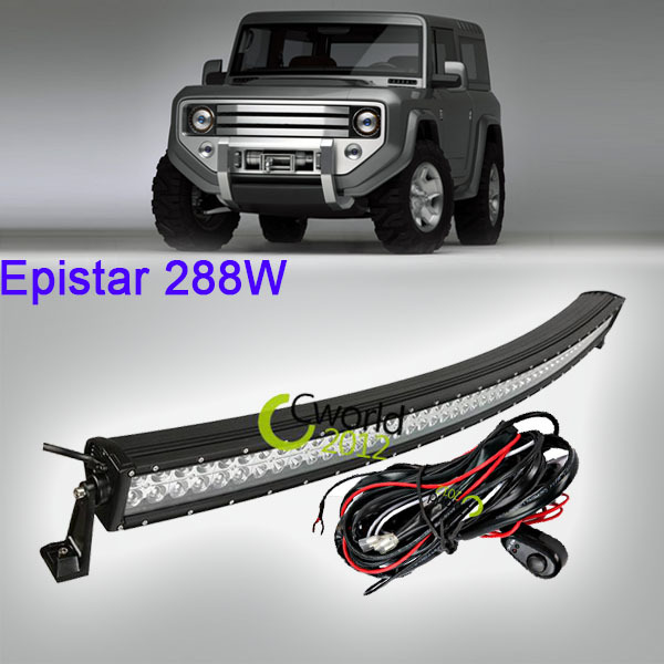 50 Inch 288W Curved Offroad LED Work Light Bar Spot Flood Combo Beam Car ATV 4X4 Truck Trailer 12V 24V Roof Auxiliary Headlight(China (Mainland))