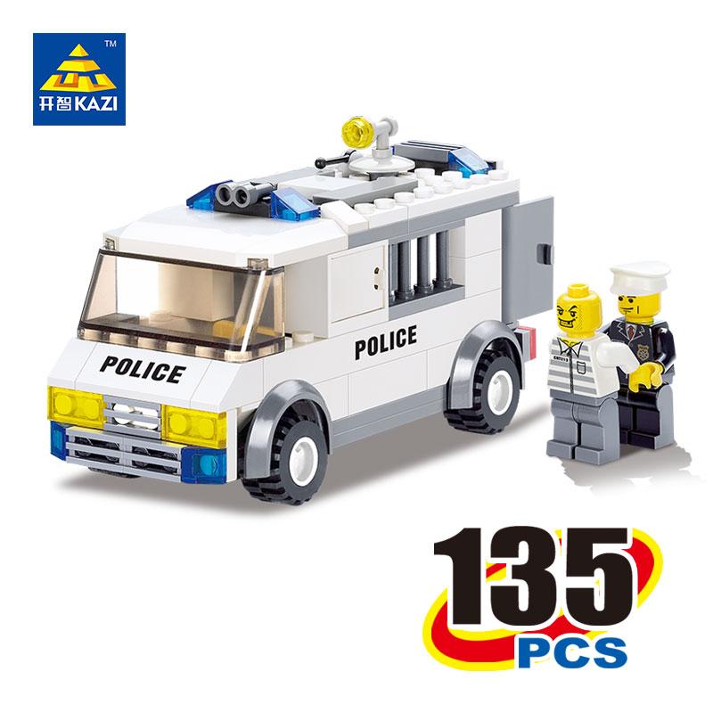 Kazi 6730 135 pieces DIY educational plastic bricks building blocks police escort auto city lighting children christmas toys(China (Mainland))
